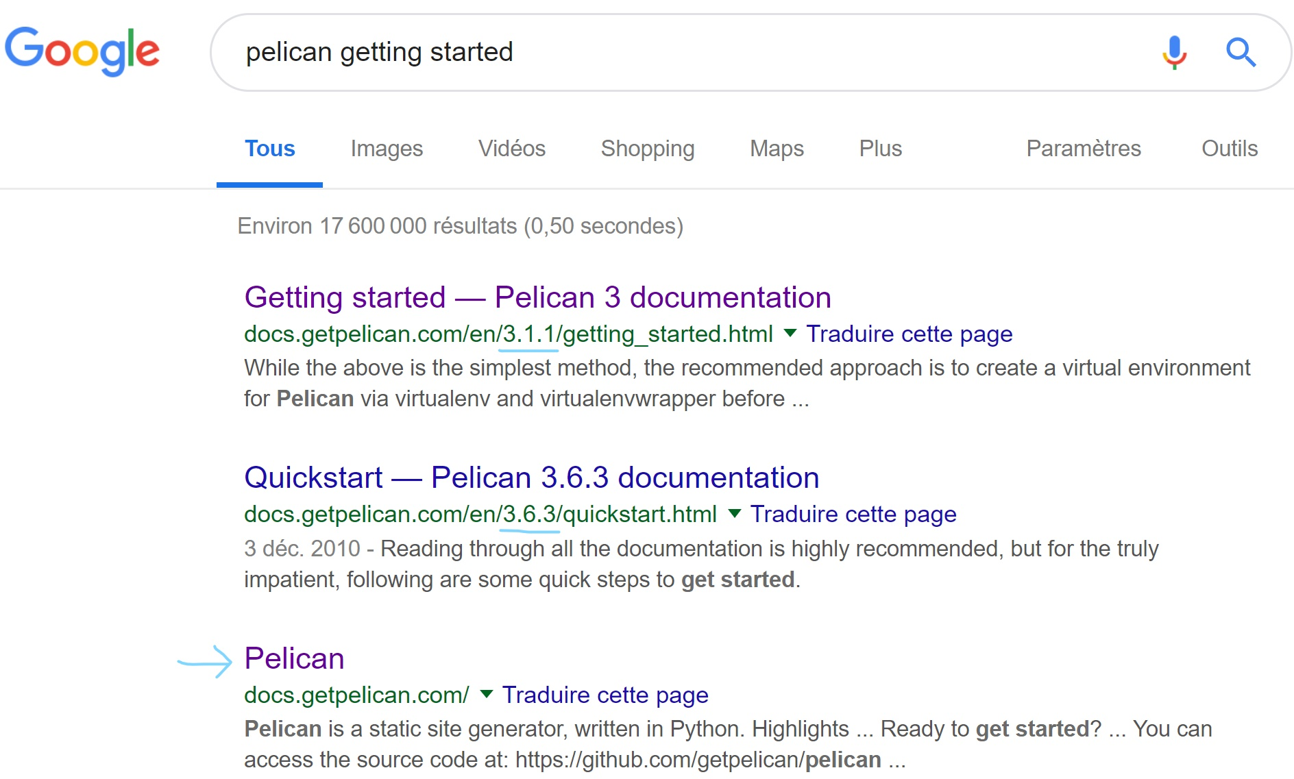 google search for pelican